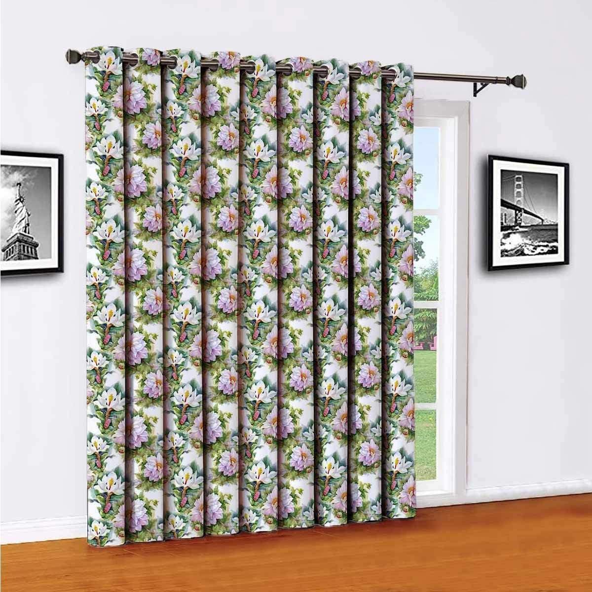 Toopeek Aquarelle Art - Cortinas opacas de poliéster con hojas giratorias, adecuadas para puertas correderas de cristal para sala de estar, cortinas térmicas de 96 x 96 pulgadas