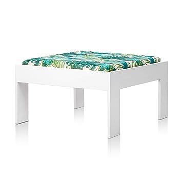 SUENOSZZZ - Sofa Jardin de Madera de Pino Color Blanco, MEDITERRANEO Mod. chaiselonge, Sillon cojín Tela Estampada Elga. Muebles Jardin Exterior. ...