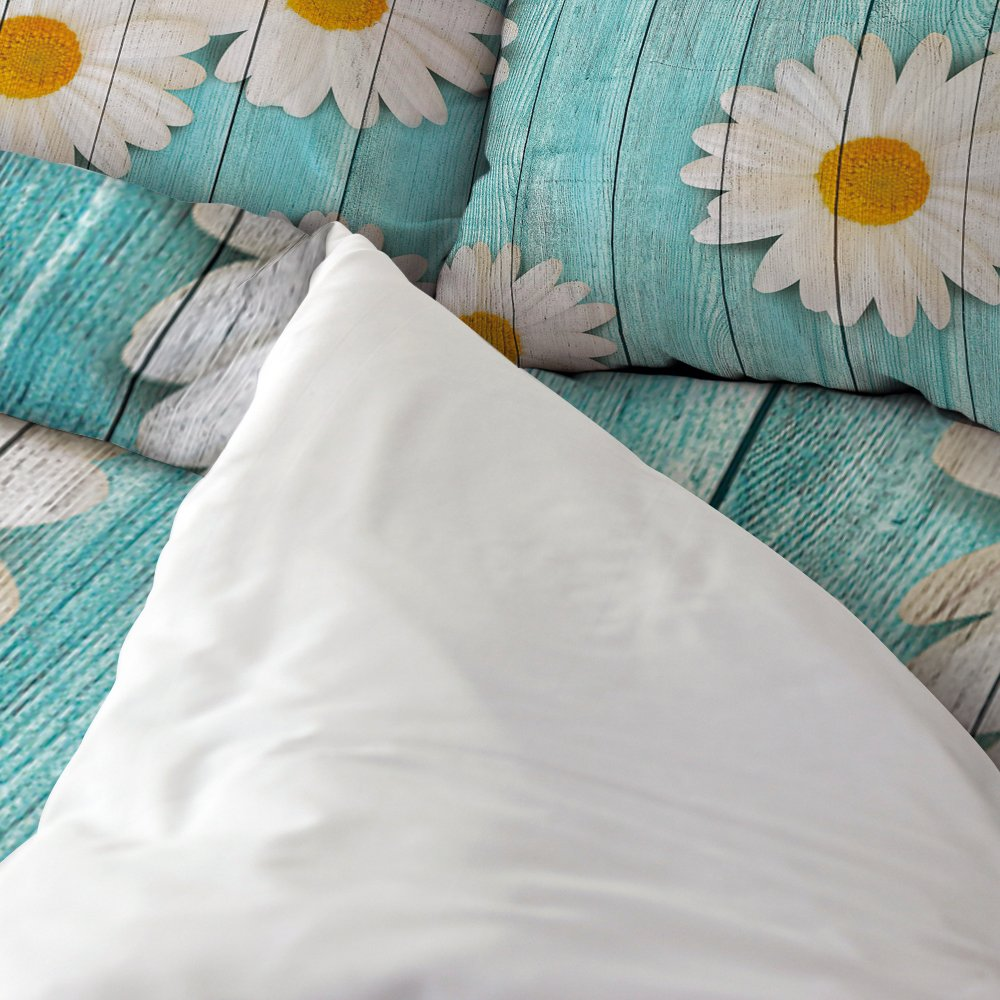 Libaoge 4 Piece Bed Sheets Set, White Daisy Flower on Rustic Old Barn Wood Design, 1 Flat Sheet 1 Duvet Cover and 2 Pillow Cases by Libaoge (Image #2)