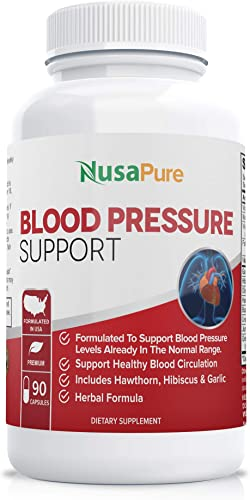 Blood Pressure Supplement Non-GMO Gluten Free 90 CAPS Blood Pressure Support with Hawthorn Berry and Uva Ursi Herbs and Vitamins for High Blood Pressure