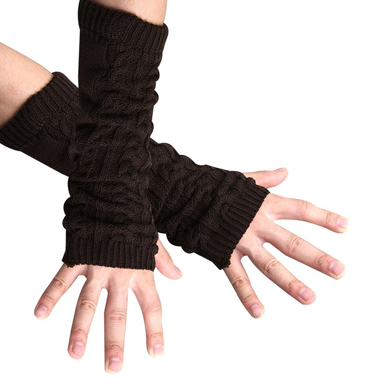 sourcingmap Unisex Daumenloch fingerlos Ellenbogen Länge Strickhandschuhe Handschuhe