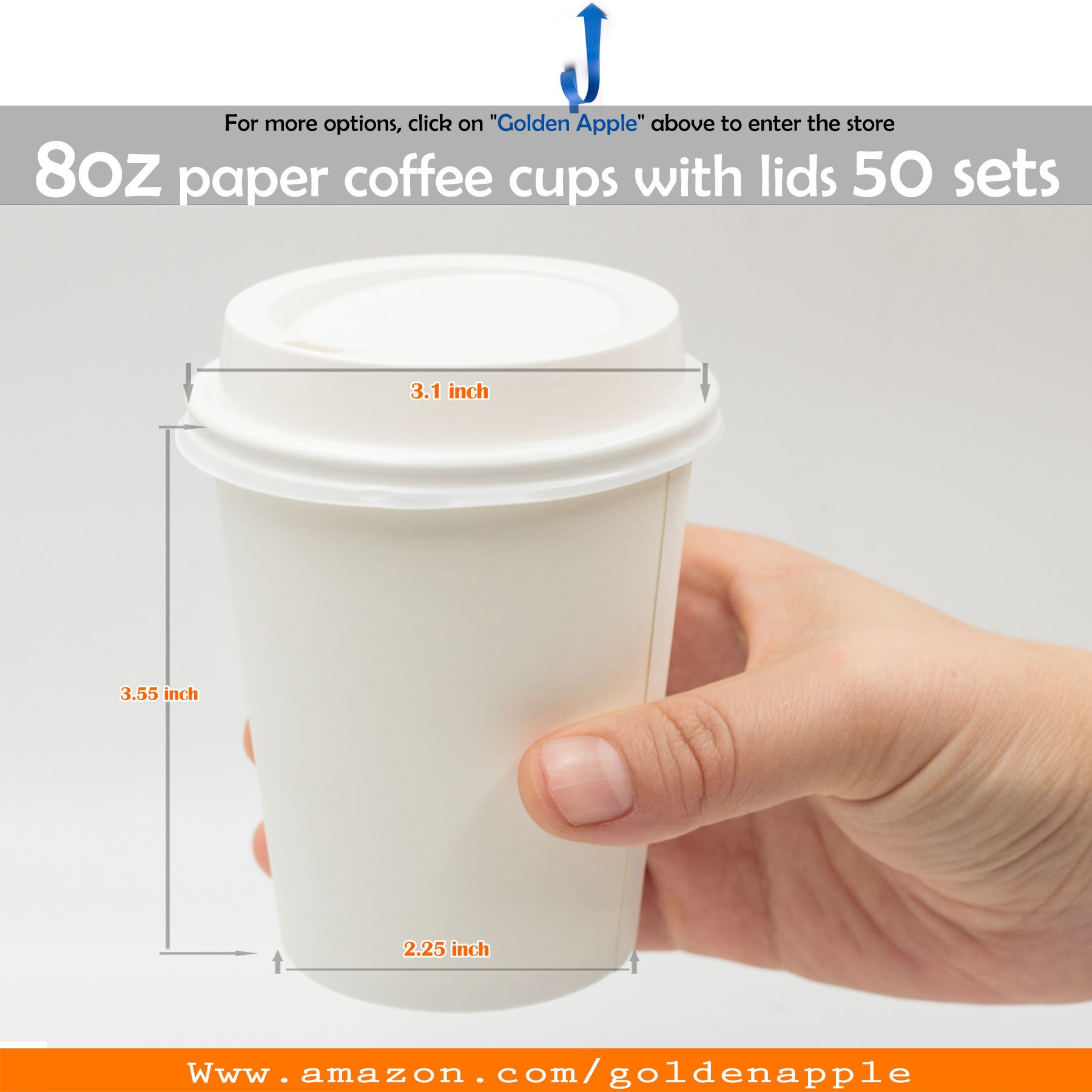 Golden Apple Disposable Paper Coffee Cups 8 Oz Cups Lids Quantity