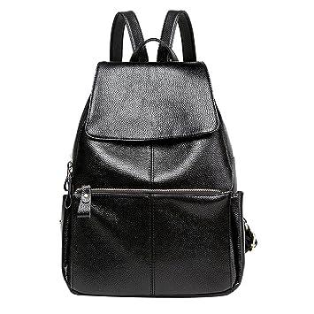 e708d92cc7952 GSHGA Mittel-Großer Lederrucksack Cityrucksack für Damen schwarz Vintage  Hot Casual Täglichen Echtem Leder Rucksack