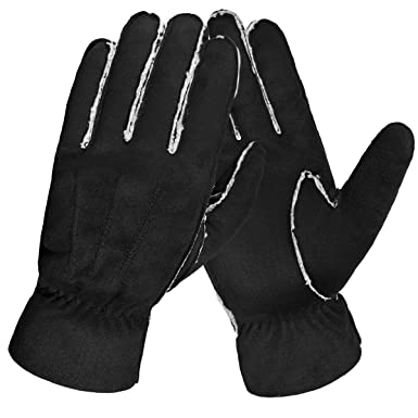 Men Fashionable Winter Driving Warm Knitting Leather Suede Fabric Thicken Gloves Back To Search Resultsapparel Accessories
