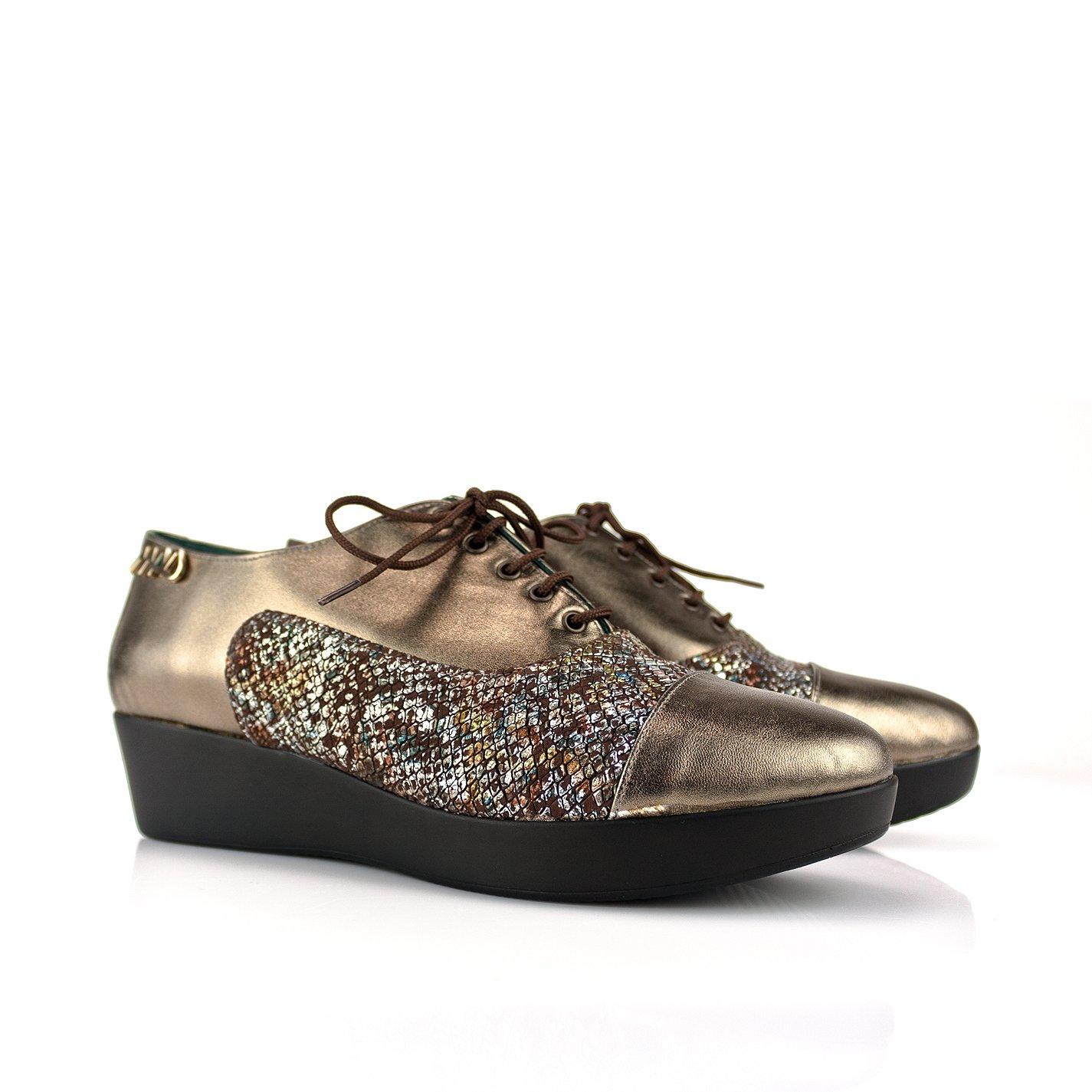 Mad in Mad Zapatos con cordones de mujer con plataforma. Hechos a mano en piel 40 EU|Piel metalizada