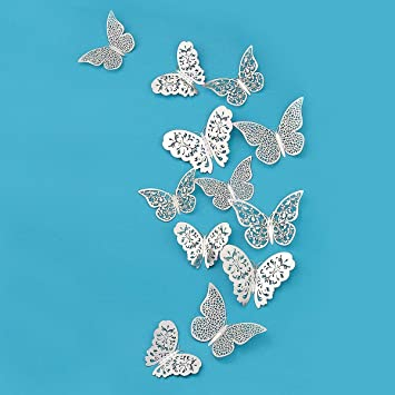 Stickers muraux Papillons Ensemble de 18 Pcs Sticker Mural 3D Autocollants D/écoration de La Maison Diy
