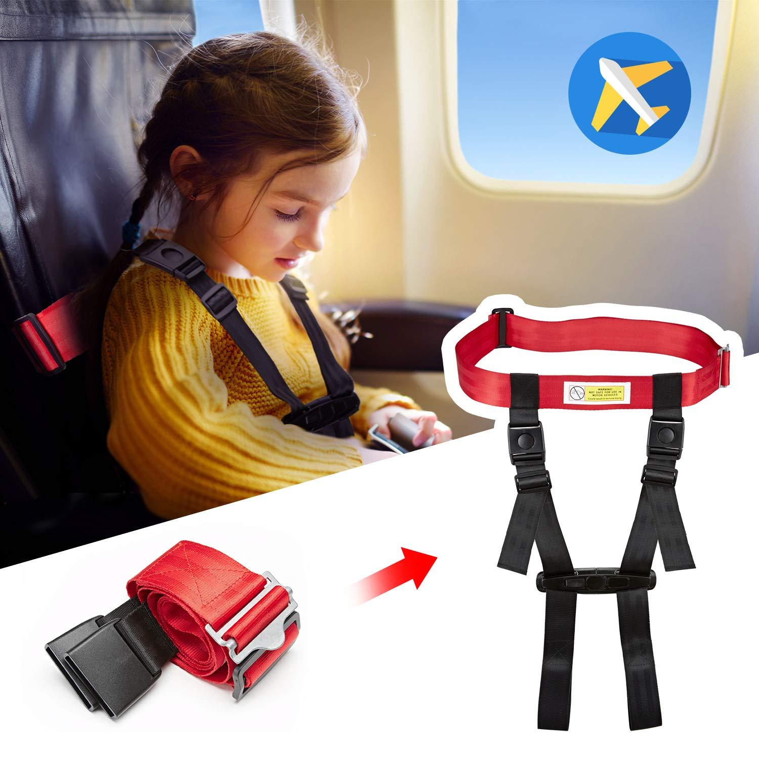 Child Safety Harness Airplane Travel Clip Strap, Travel Harness Safety System Approved by FAA, Airplane Safety Travel Harness for Baby, Toddlers & Kids by Farochy (Image #3)