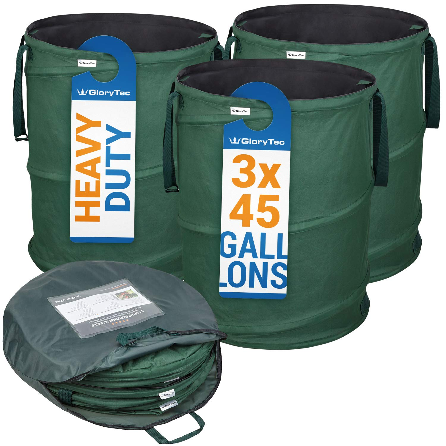 GloryTec 3-Pack Collapsible Garden Bag 45 Gallons Each - Heavy-Duty Gardening Container - Comparative-Winner 2018 - Reusable Trash Can for Leaf, Lawn and Yard Waste - Premium Bagster by Glorytec