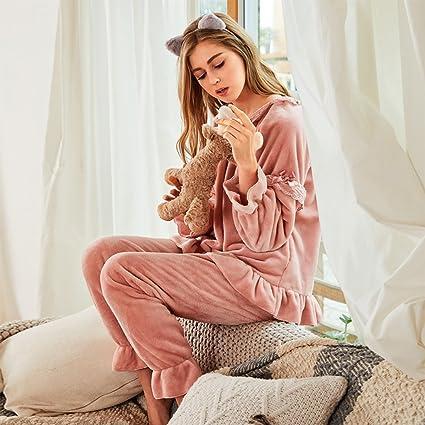 Pijamas Mujer de invierno Estilo de princesa Engrosamiento de franela Versión coreana Mantener caliente Chica puede