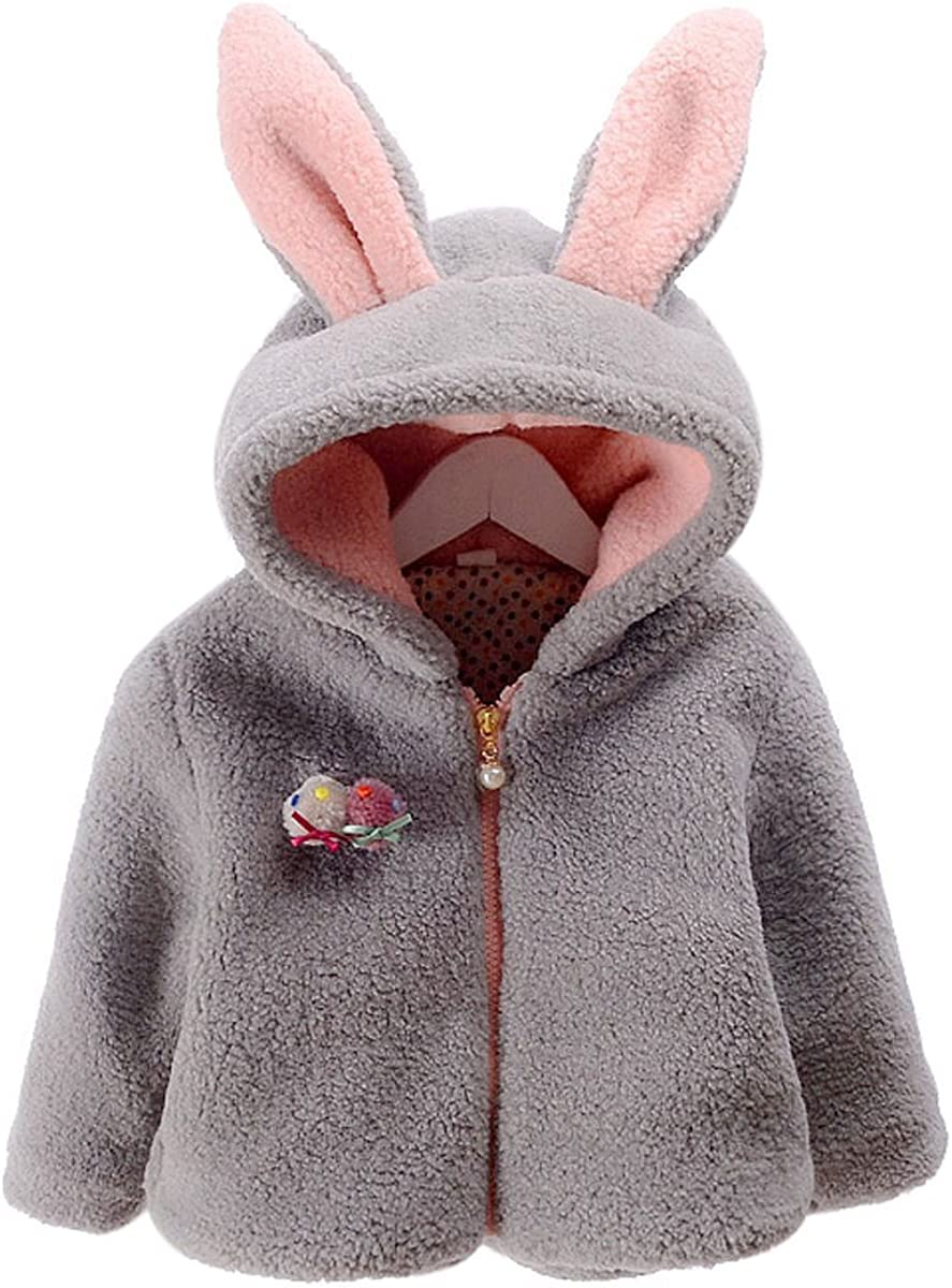 ZIYOYOR Baby Girls Winter Fleece Coat Cute Bunny Ear Hooded Coat Outerwear