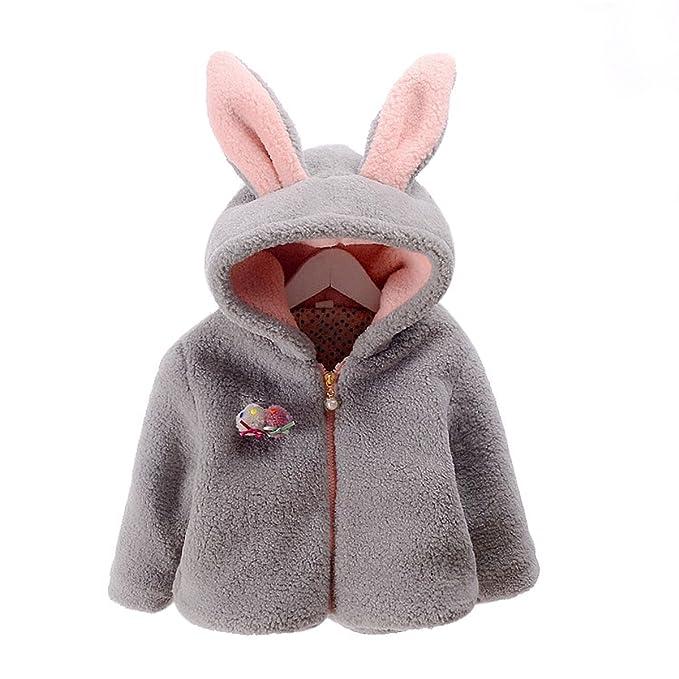 7430cf0d6 Amazon.com  Baby Girls Winter Fleece Coat Cute Bunny Ear Hooded Coat ...