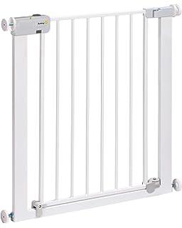 Safety 1st Easy Close Metal Barrera de seguridad metalica para puertas y escaleras, Puerta de seguridad 80 cm hasta 136 cm con extensiones, barrera escalera bebe, ninos y perros, Blanco: Amazon.es: Bebé