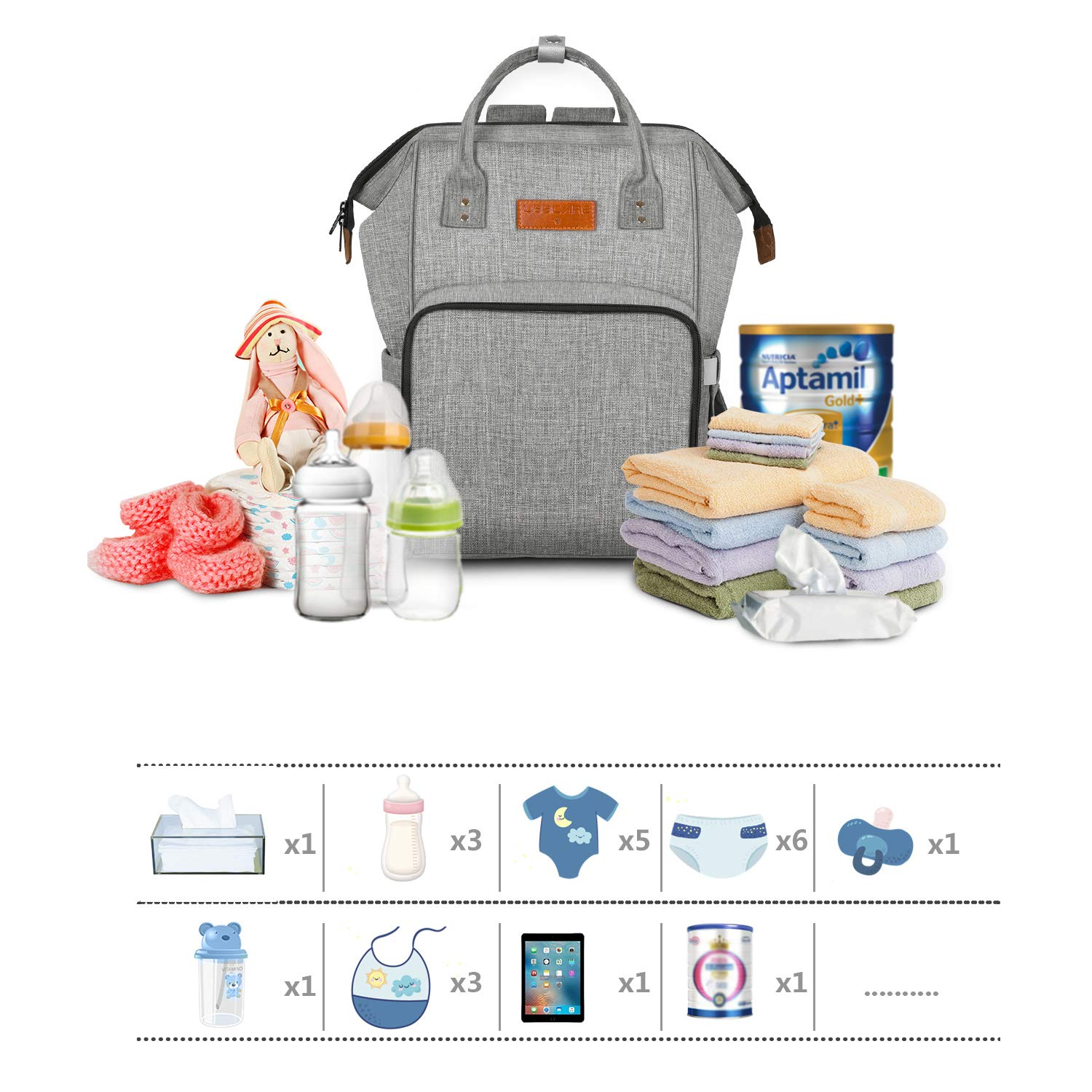 16.5 11.8 8.3in Large Capacity Waterproof Multi-Function Diaper Tote Bag Backpack Rucksack with Insulated Pockets for Mom Baby Care HBselect Baby Changing Bag Rucksack Helper Stylish Design