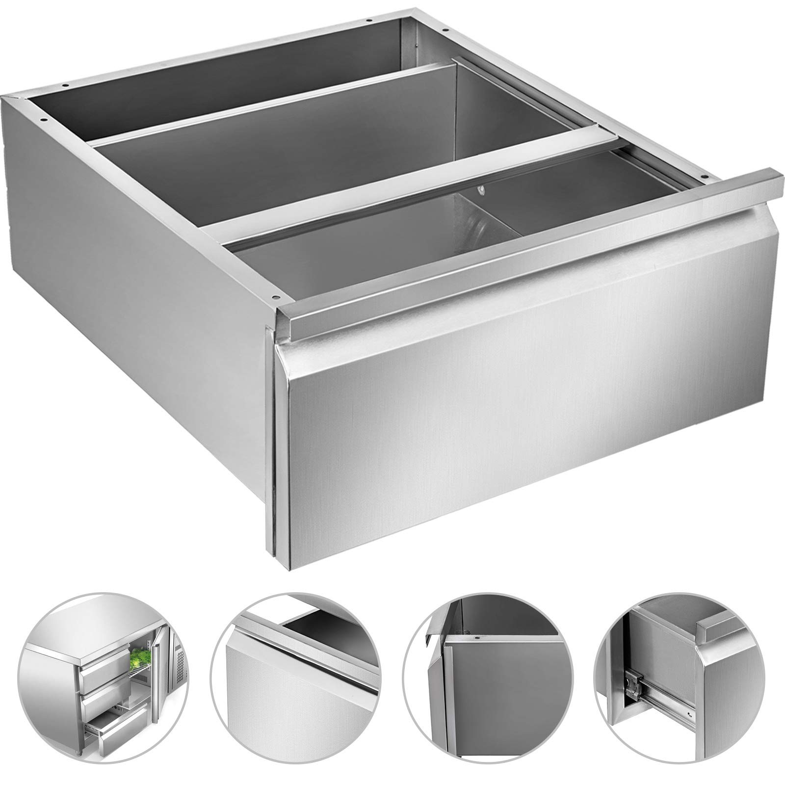 Mophorn Outdoor Kitchen Drawer Stainless Steel BBQ Storage with Chrome Handle Flush Mount Sliver (20 x 20 x 8 Inch, Single Worktable Drawer)