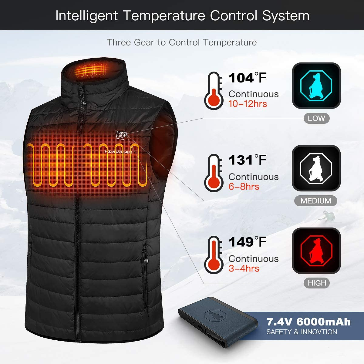 CLIMIX 2019 Lightweight Heated Vest for Men w//7.4v Heated Vest System Temperature Control 100/% Machine Wash