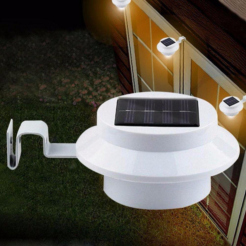 yinghao 3 LED funciona con energía solar luz valla de canalón de luz al aire libre batería de seguridad pared techo garaje cobertizo luz resistente al agua ...