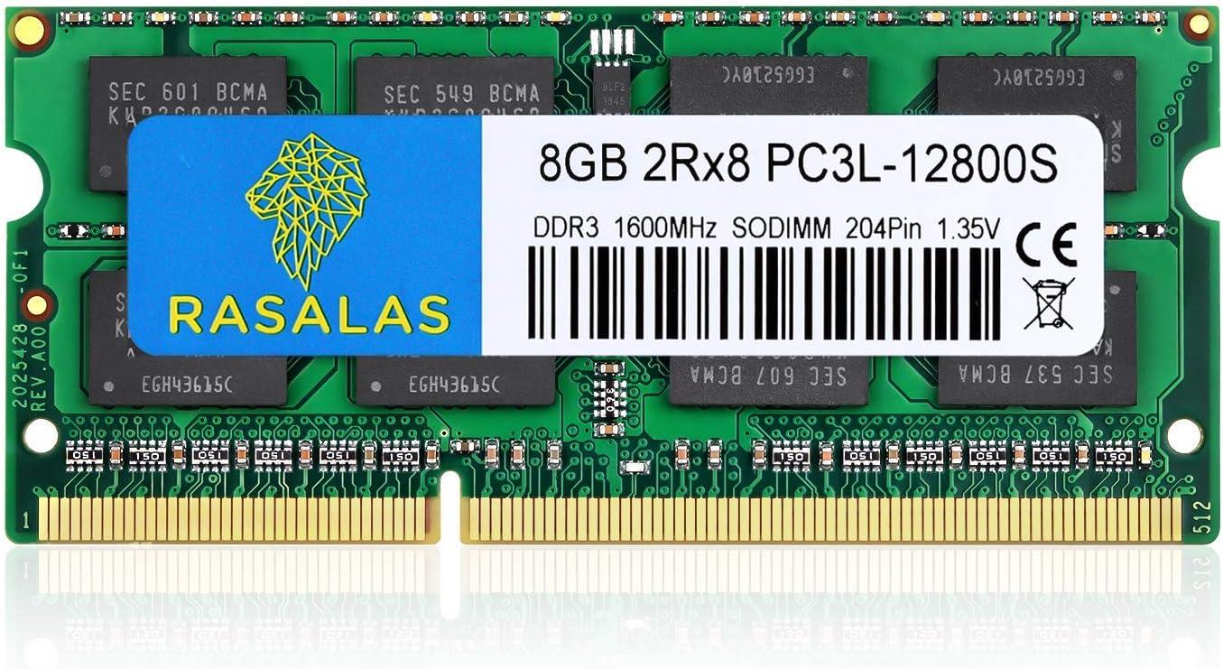 Rasalas 8GB DDR3 PC3L-12800S 8GB 1600 MHz DDR3 SODIMM RAM for Intel AMD Laptop, MacBook Pro Mid 2012, iMac Late 2012/ Early/Late 2013, Late 2012/2013, Retina 5K Display, Mac Mini