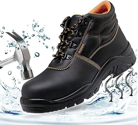 SUADEEX Mujer Hombre Zapatillas de Seguridad Botas con Puntera de Acero Impermeables Piel de Vacuno Zapatos de Trabajo Entrenador Unisex Zapatillas de Senderismo: Amazon.es: Zapatos y complementos
