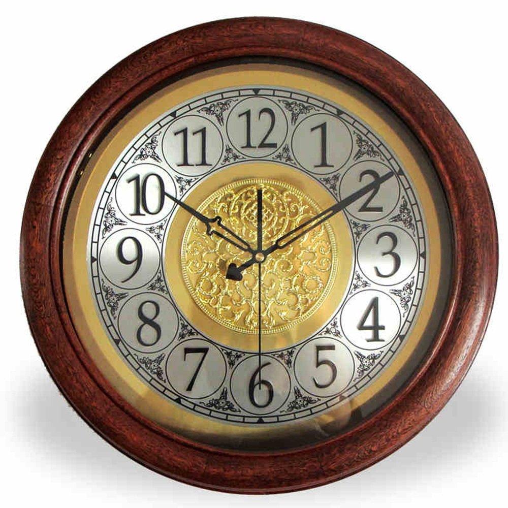 LXF 掛け時計 ソリッドウッドハンギングクロックヨーロッパスタイルのリビングルームアメリカンスタイルレトロ円形シンプルなクォーツミュートウォールクロック (色 : B) B07FRVQ6VT B B