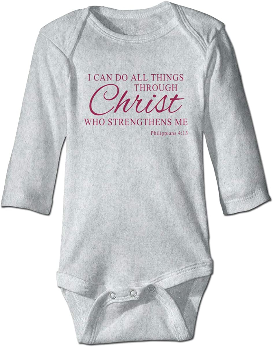 Marsherun Baby Girl Boy I Can Do All Things Through Christ Who Strengthens Me Long Sleeve Bodysuit Playsuit