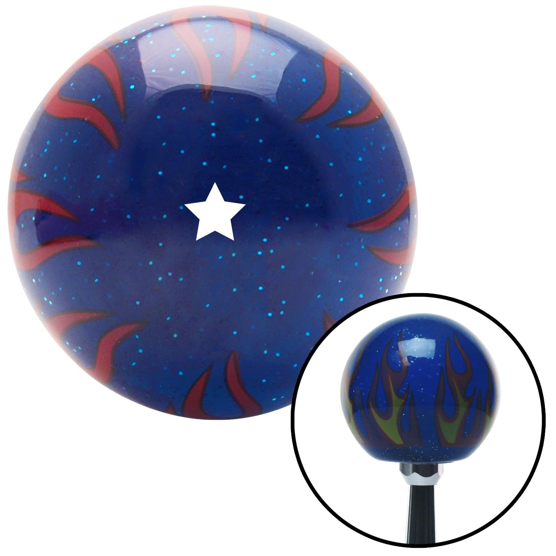 White Dragon Ball Z - 1 Star American Shifter 251933 Blue Flame Metal Flake Shift Knob with M16 x 1.5 Insert