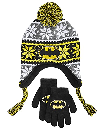 14fa6aae1ad Image Unavailable. Image not available for. Color  Batman Boys Kids Winter  Hat Beanie Mittens Gloves Set