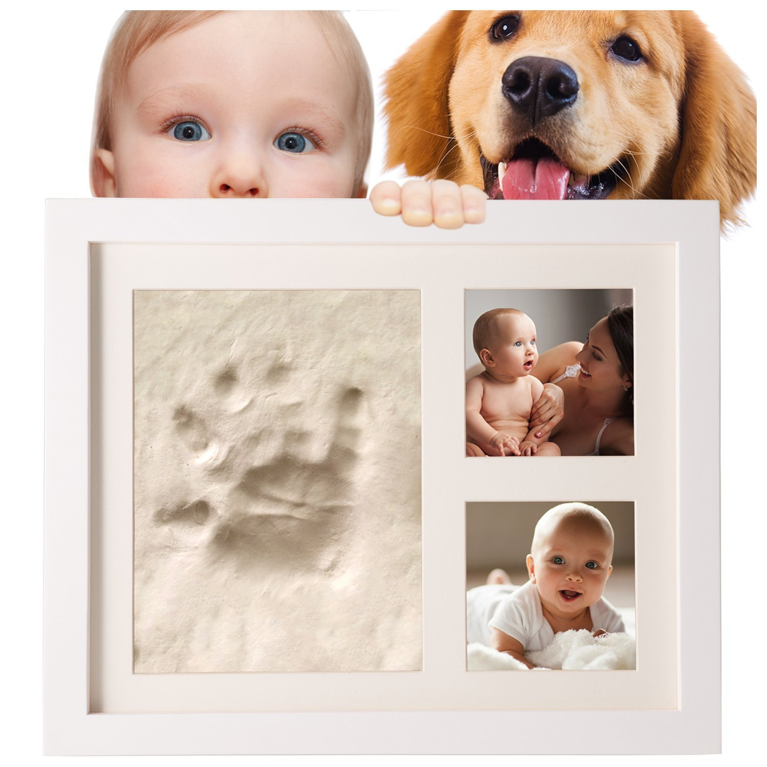 SafBabies Baby Handprint and Footprint Clay Kit Picture Frame, White