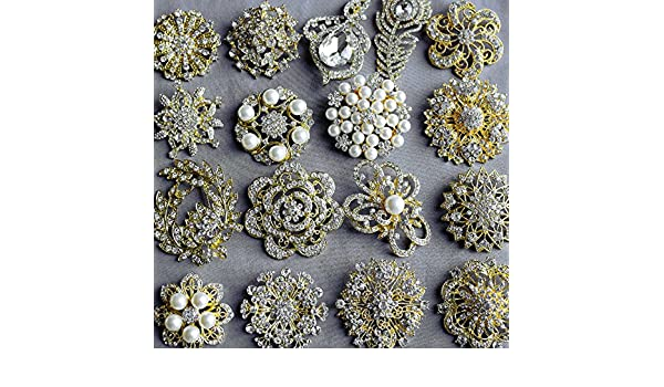 92fcdc4c7 Amazon.com: 20 Gold Rhinestone Brooch Embellishment X LARGE Pearl Crystal  Wedding Bridal Brooch Bouquet Invitation Cake Decoration BR986: Jewelry
