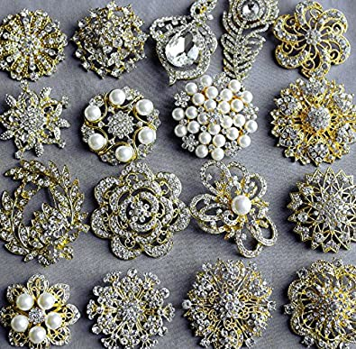 92e360382 Image Unavailable. Image not available for. Color: 20 Gold Rhinestone  Brooch Embellishment X LARGE Pearl Crystal Wedding Bridal Brooch Bouquet  Invitation ...