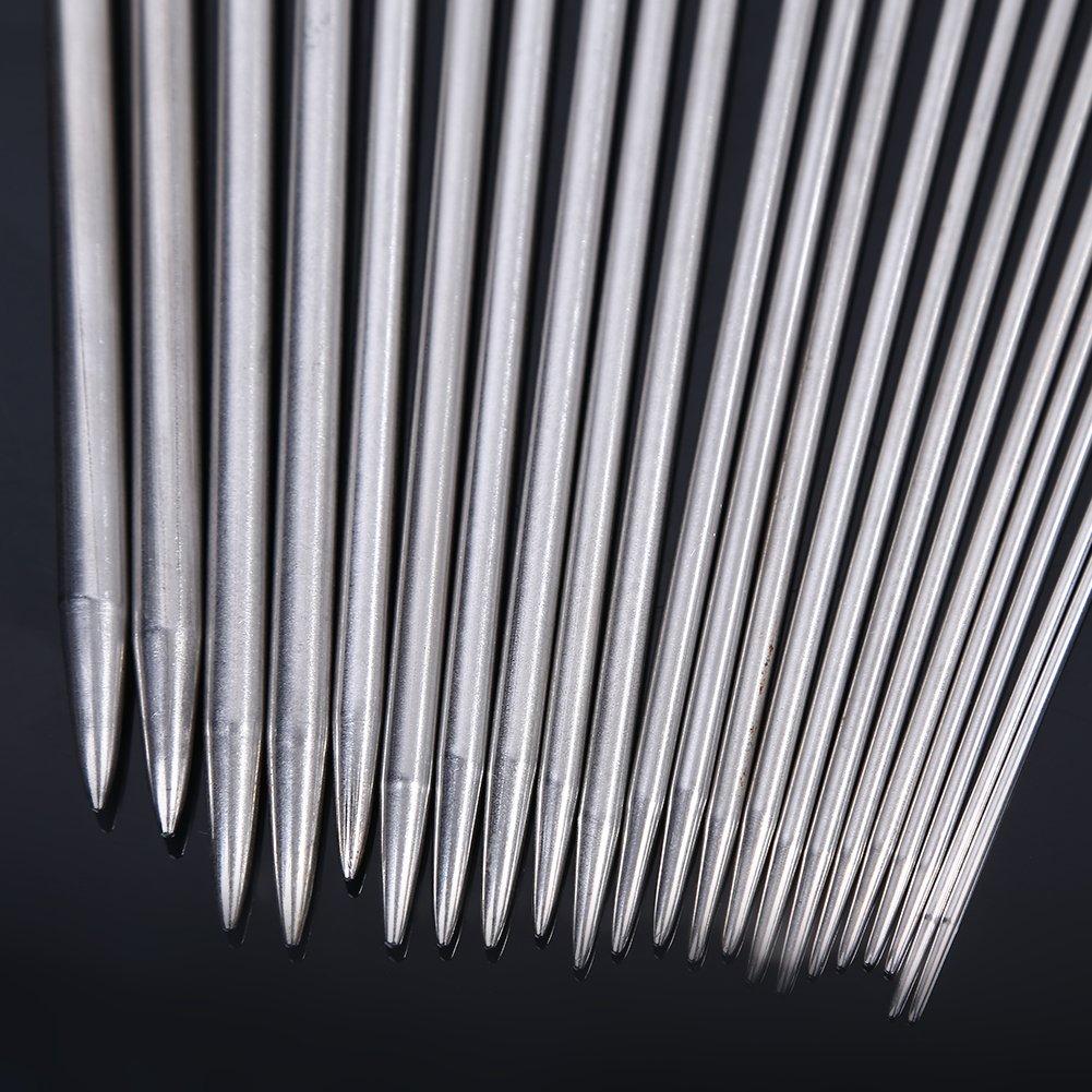 14 Zoll EverFabulous OUTOS H/äkelnadeln 11 Pack Diverse Gr/ö/ße Farbe Sortiert tunesische afghanische Aluminium-Stricknadeln