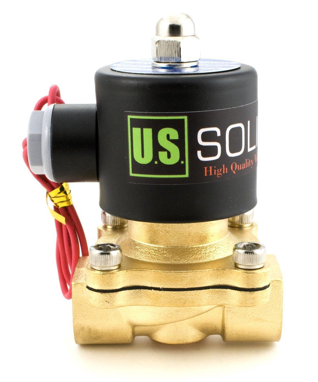 U.S. Solid 12V DC 1/2' G Vá lvula de solenoide elé ctrica Lató n Normalmente Cerrado Solenoid Valve Impulsado Directamente para Agua Aire Aceite Viton Material del sello