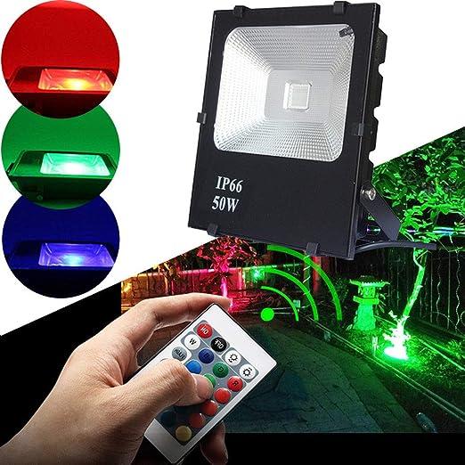 HENGMEI Foco proyector LED 50W RGB reflector Impermeable IP66 Exterior Iluminación para Jardin, Garaje, Patio: Amazon.es: Iluminación
