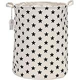 """Sea Team 19.7"""" Large Sized Waterproof Coating Ramie Cotton Fabric Folding Laundry Hamper Bucket Cylindric Burlap Canvas Storage Basket with Stylish Black Stars Design"""