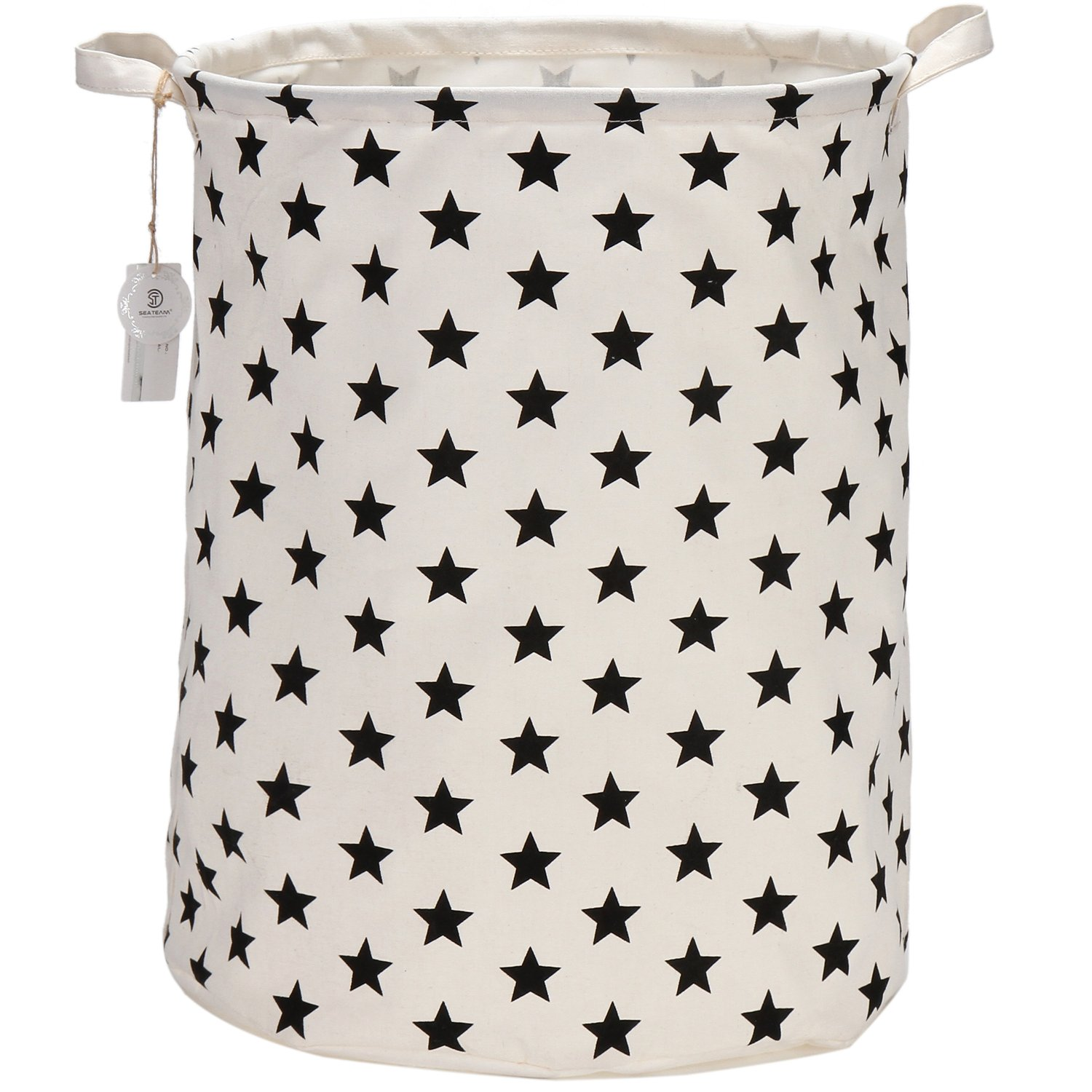 "Sea Team 19.7"" Large Sized Waterproof Coating Ramie Cotton Fabric Folding Laundry Hamper Bucket Cylindric Burlap Canvas Storage Basket with Stylish Black Stars Design"