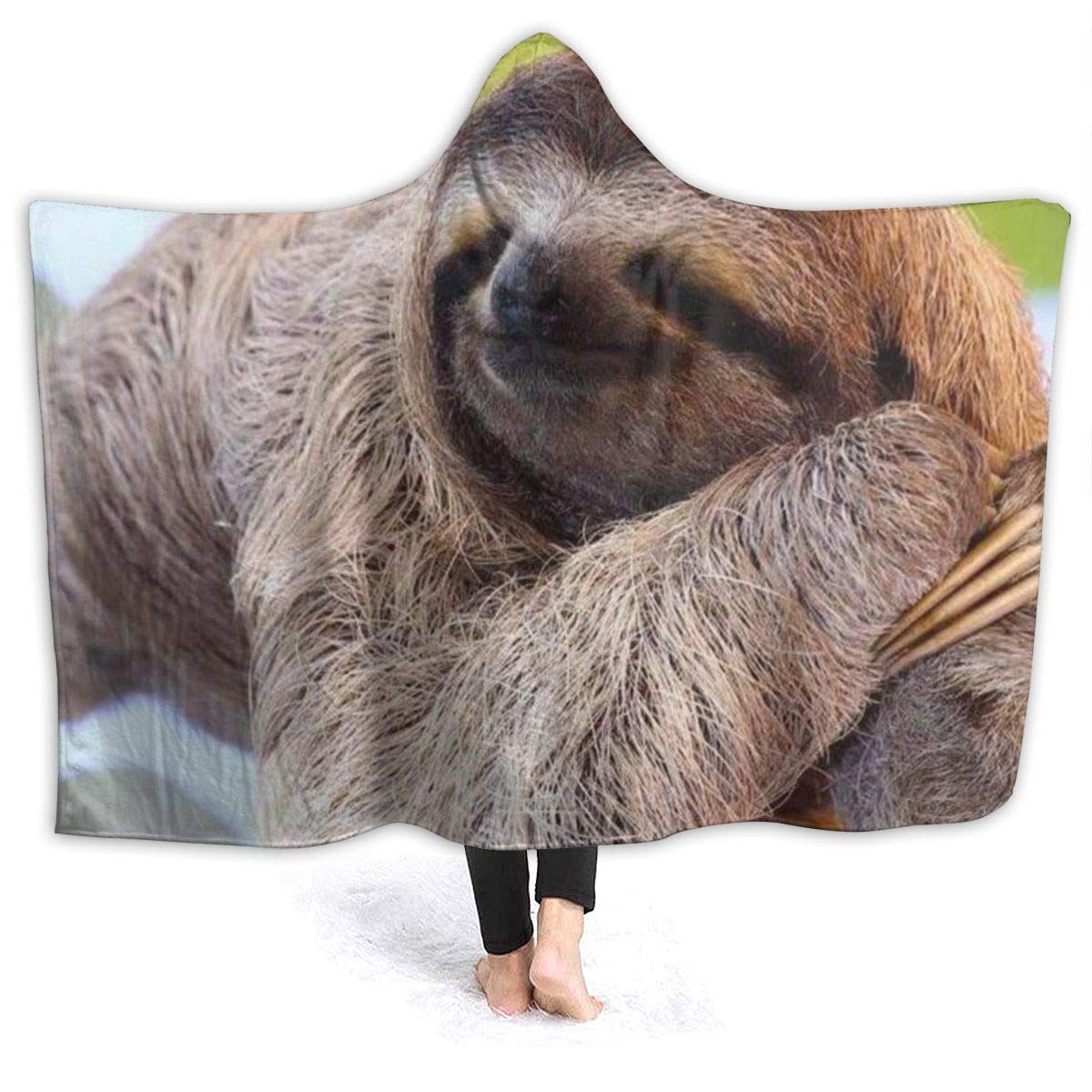 Funny Sloth Hooded Blanket Throw Wearable Cuddle,Super Soft Flannel,Mens,Womens,Kids by Huhuhu