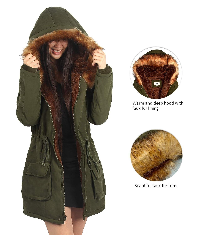 794a5d7e1 Amazon.com  4HOW Womens Hooded Parka Jacket Winter Coat Warm Faux ...