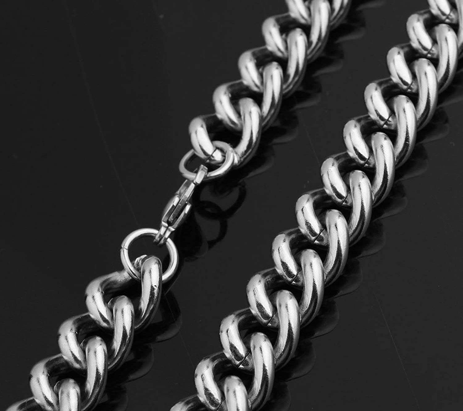 ANAZOZ Stainless Steel Necklace Punk Biker Silver Curb Chain Necklace for Men