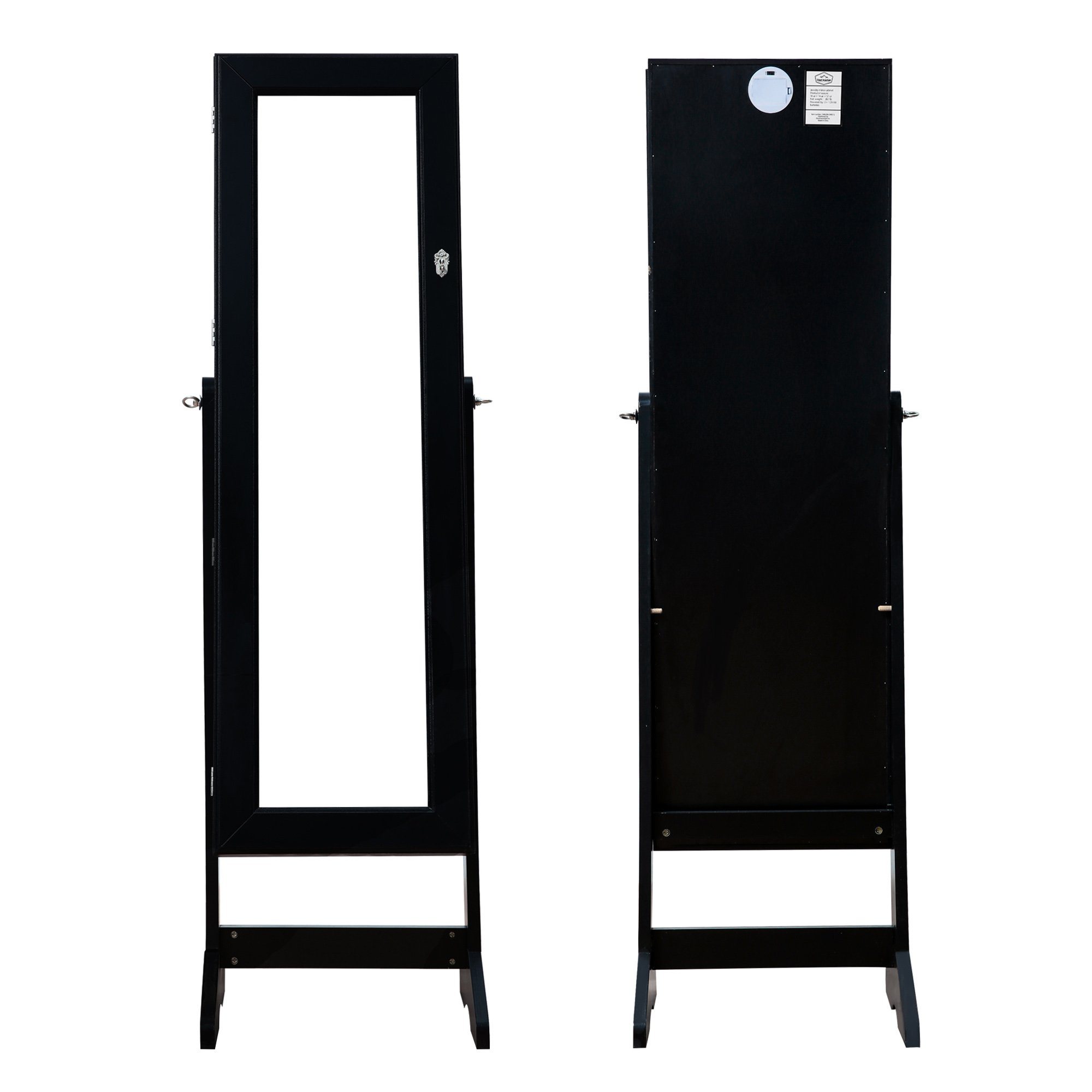 639a0add2 Cloud Mountain Mirrored Jewelry Cabinet Free-Standing Lockable Jewelry  Armoire Full Length Floor Tilting Jewelry