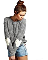 CHN'S Women's Round Neck Long Sleeve Pullover Plain Knitted Casual Sweater