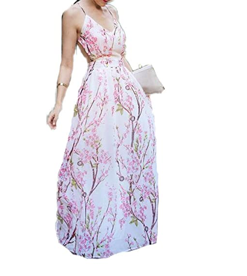 Eloise Isabel Fashion dress sakura floral imprimir spaghetti strap v-neck backless chiffon beach dress