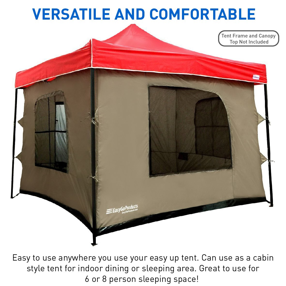 Beau Amazon.com : Camping Tent Attaches To Any 10u0027x10u0027 Easy Up Pop Up Canopy Tent  With 4 Walls, PVC Floor, 2 Doors And 4 Windows   Solid Roof   Standing Tent  ...