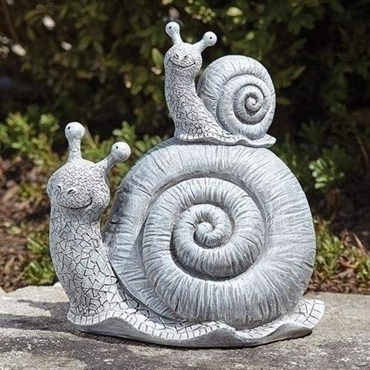 Garden items Snails Statue, one Size, Light Gray