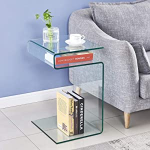 SMARTIK Clear Glass End Table, Bedside Table for Bedroom, Small Side Tables for Living Room, Sofa Nightstand Bent Modern Home Office Furniture (S Style 23.9x16.5x14.5 inch)