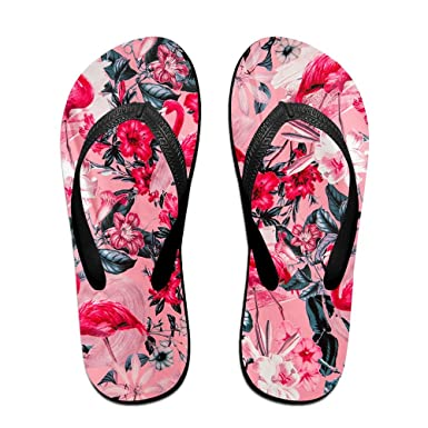 8c70bdc657f1 Amazon.com  Flamingo Floral Unisex Flip Flops Sandal For Women Men  Classical Comfortable Slipper  Clothing