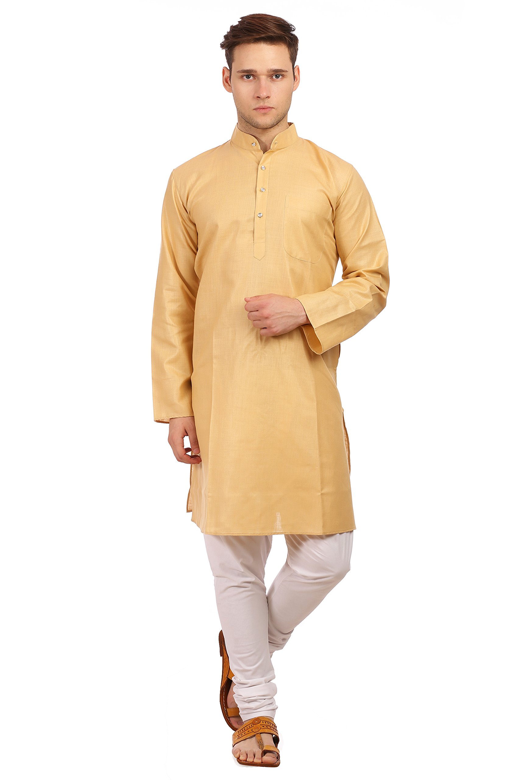 WINTAGE Men's Cotton Silk Festive and Casual Beige Kurta Pyjama