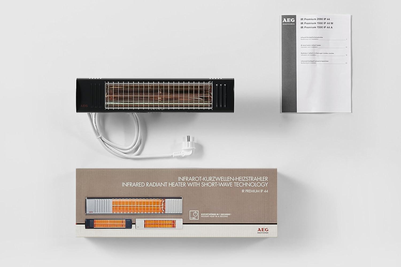 AEG IP44W - Radiador por infrarrojos de onda corta, 1500 W, idoneo para terraza, balcón, jardín de invierno, color gris: Amazon.es: Hogar