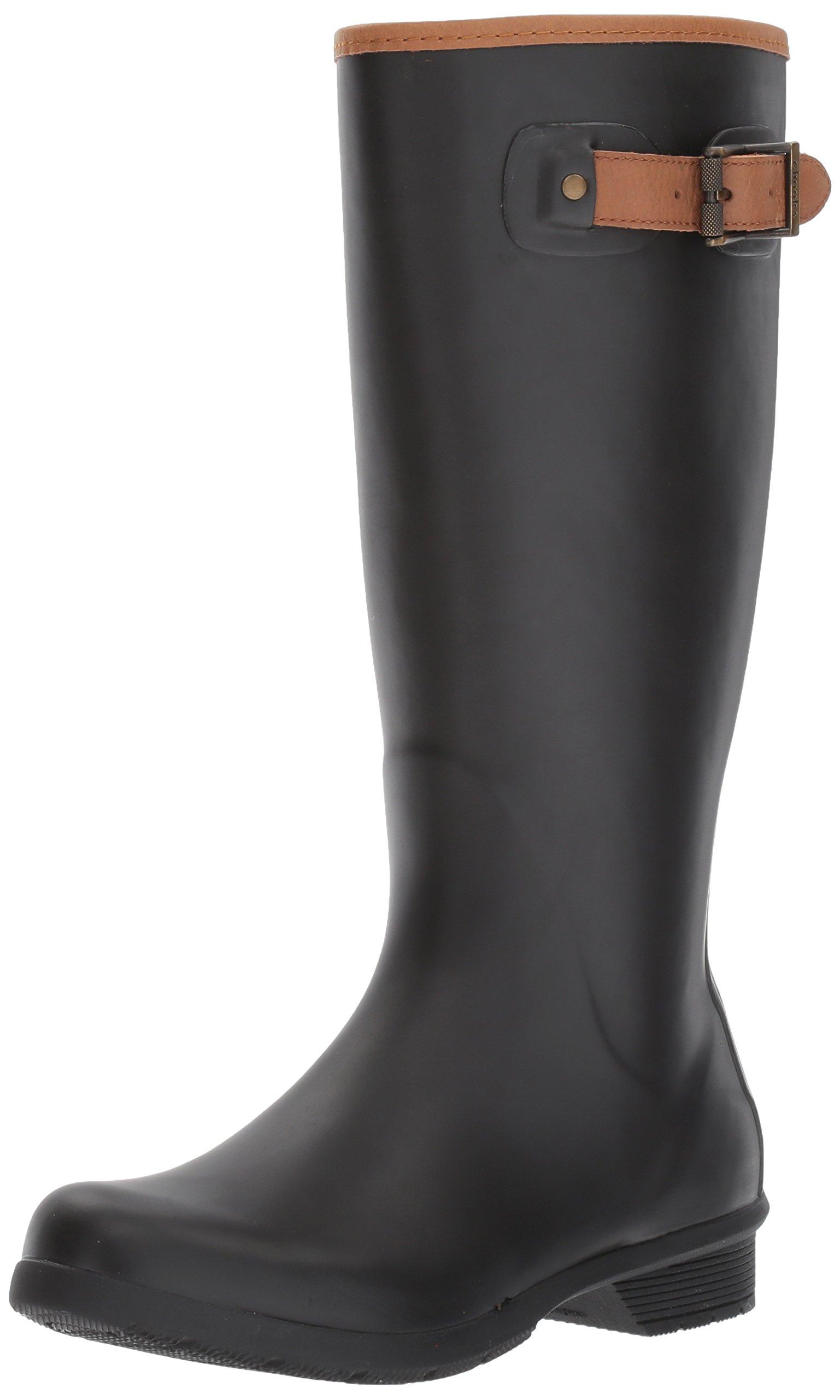Chooka Women's Tall Memory Foam Rain Boot, Black, 8 M US by Chooka