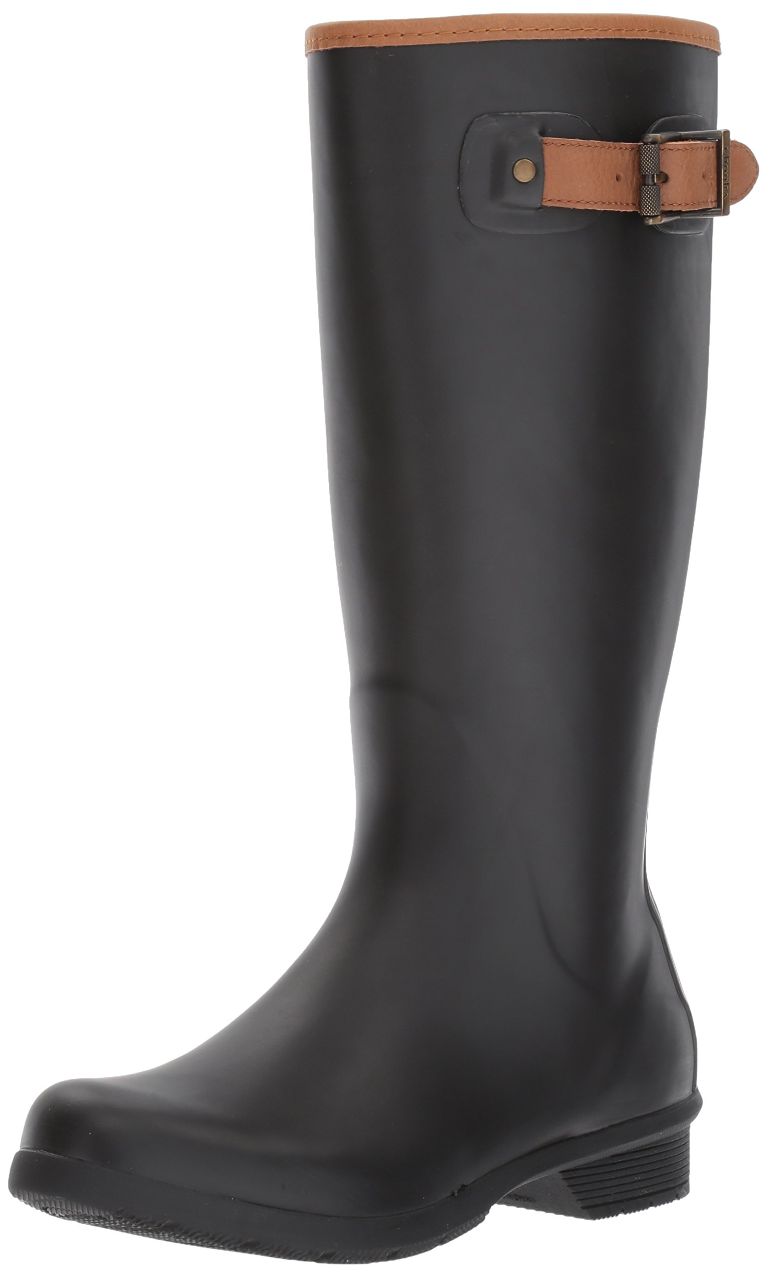 Chooka Women's Tall Memory Foam Rain Boot, Black, 7 M US