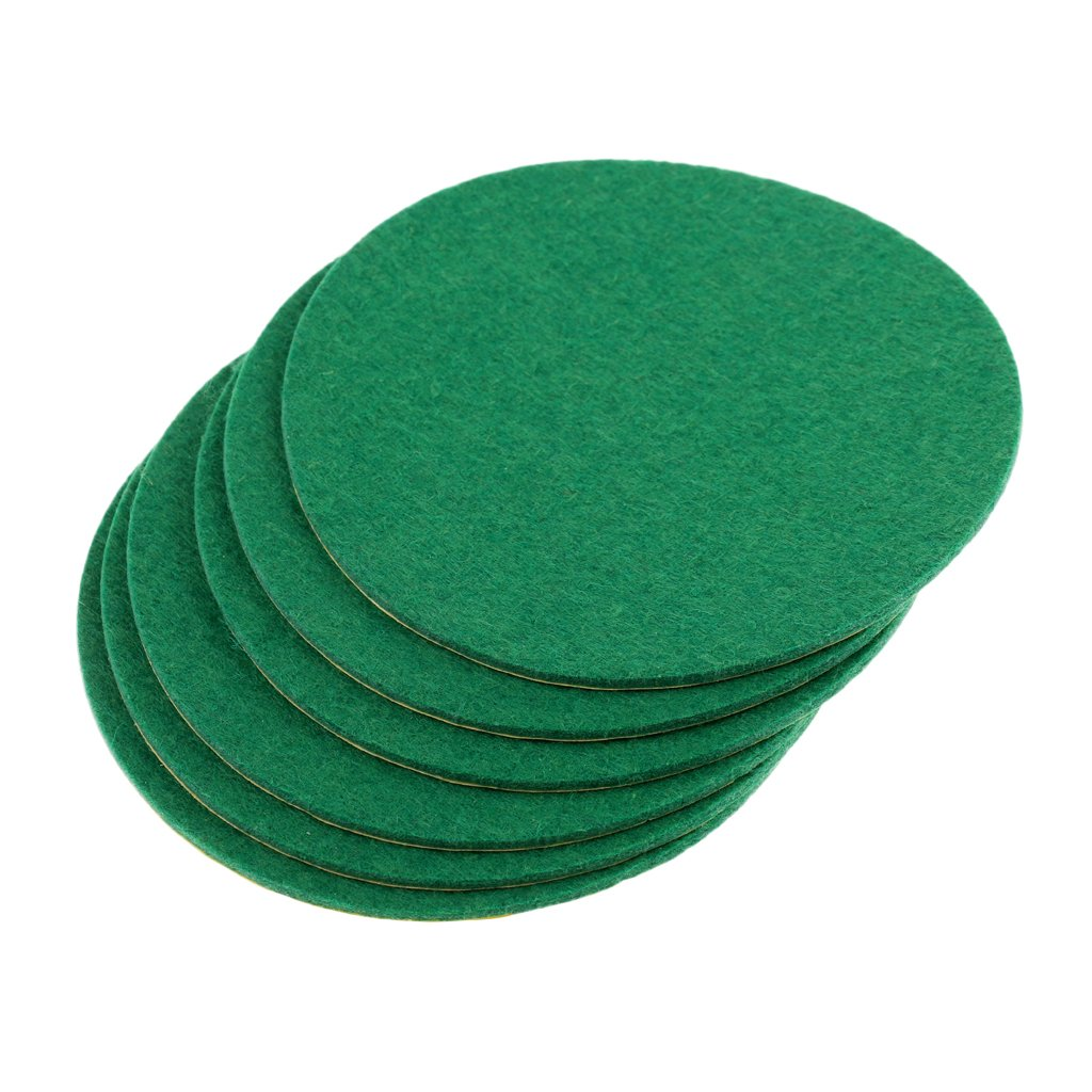 MagiDeal 6 Pieces Air Hockey Table Felt Pushers Replacement Felt Pads Green