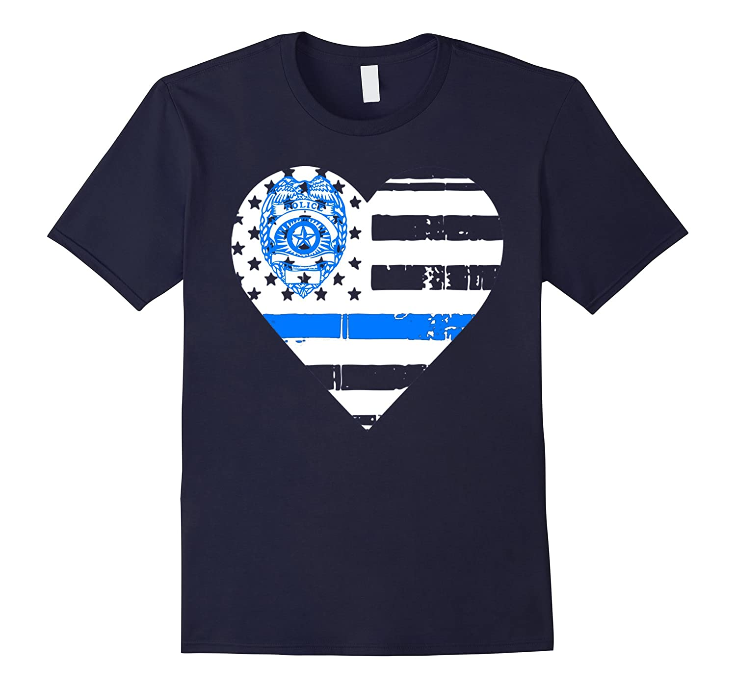 Thin Blue Line T shirt - Thin Blue Line Heart Shirt-RT